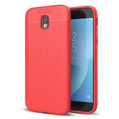 Coque Silicone Gel Motif Cuir Housse Etui pour Samsung Galaxy J5 (2017) SM-J750F Rouge