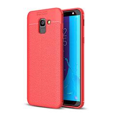 Coque Silicone Gel Motif Cuir Housse Etui pour Samsung Galaxy J6 (2018) J600F Rouge