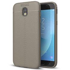 Coque Silicone Gel Motif Cuir Housse Etui pour Samsung Galaxy J7 (2017) SM-J730F Gris