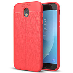 Coque Silicone Gel Motif Cuir Housse Etui pour Samsung Galaxy J7 (2017) SM-J730F Rouge