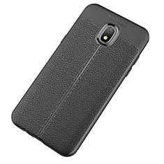 Coque Silicone Gel Motif Cuir Housse Etui pour Samsung Galaxy J7 (2018) J737 Noir