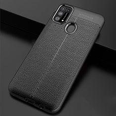 Coque Silicone Gel Motif Cuir Housse Etui pour Samsung Galaxy M21s Noir