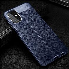 Coque Silicone Gel Motif Cuir Housse Etui pour Samsung Galaxy M31s Bleu