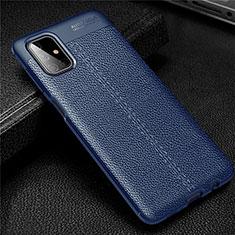 Coque Silicone Gel Motif Cuir Housse Etui pour Samsung Galaxy M51 Bleu