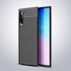 Coque Silicone Gel Motif Cuir Housse Etui pour Samsung Galaxy Note 10 5G Noir
