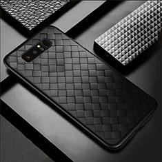Coque Silicone Gel Motif Cuir Housse Etui pour Samsung Galaxy Note 8 Duos N950F Noir