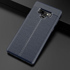 Coque Silicone Gel Motif Cuir Housse Etui pour Samsung Galaxy Note 9 Bleu