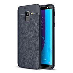 Coque Silicone Gel Motif Cuir Housse Etui pour Samsung Galaxy On6 (2018) J600F J600G Bleu