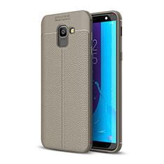 Coque Silicone Gel Motif Cuir Housse Etui pour Samsung Galaxy On6 (2018) J600F J600G Gris