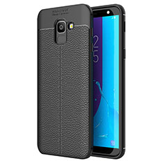Coque Silicone Gel Motif Cuir Housse Etui pour Samsung Galaxy On6 (2018) J600F J600G Noir