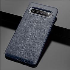 Coque Silicone Gel Motif Cuir Housse Etui pour Samsung Galaxy S10 5G SM-G977B Bleu