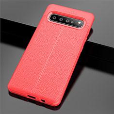Coque Silicone Gel Motif Cuir Housse Etui pour Samsung Galaxy S10 5G SM-G977B Rouge