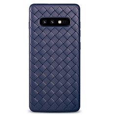 Coque Silicone Gel Motif Cuir Housse Etui pour Samsung Galaxy S10e Bleu