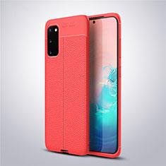 Coque Silicone Gel Motif Cuir Housse Etui pour Samsung Galaxy S20 5G Rouge