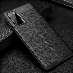 Coque Silicone Gel Motif Cuir Housse Etui pour Samsung Galaxy S20 FE 5G Noir