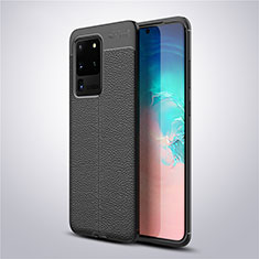 Coque Silicone Gel Motif Cuir Housse Etui pour Samsung Galaxy S20 Ultra 5G Noir