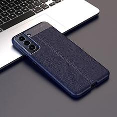 Coque Silicone Gel Motif Cuir Housse Etui pour Samsung Galaxy S21 5G Bleu Royal