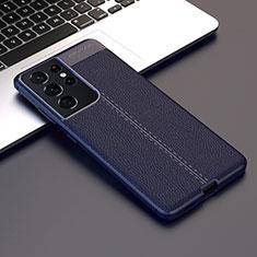 Coque Silicone Gel Motif Cuir Housse Etui pour Samsung Galaxy S21 Ultra 5G Bleu
