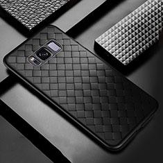Coque Silicone Gel Motif Cuir Housse Etui pour Samsung Galaxy S8 Plus Noir