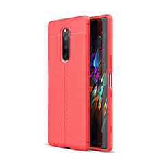 Coque Silicone Gel Motif Cuir Housse Etui pour Sony Xperia 1 Rouge