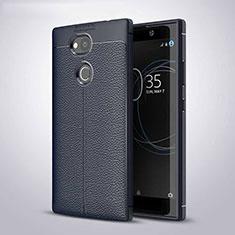 Coque Silicone Gel Motif Cuir Housse Etui pour Sony Xperia L2 Bleu