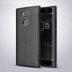 Coque Silicone Gel Motif Cuir Housse Etui pour Sony Xperia L2 Noir
