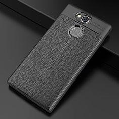 Coque Silicone Gel Motif Cuir Housse Etui pour Sony Xperia XA2 Noir