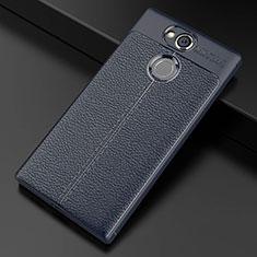 Coque Silicone Gel Motif Cuir Housse Etui pour Sony Xperia XA2 Plus Bleu