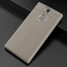 Coque Silicone Gel Motif Cuir Housse Etui pour Sony Xperia XA2 Plus Gris