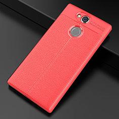 Coque Silicone Gel Motif Cuir Housse Etui pour Sony Xperia XA2 Plus Rouge