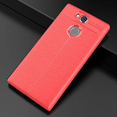 Coque Silicone Gel Motif Cuir Housse Etui pour Sony Xperia XA2 Ultra Rouge