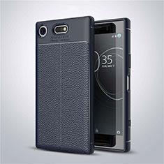 Coque Silicone Gel Motif Cuir Housse Etui pour Sony Xperia XZ1 Compact Bleu