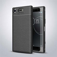 Coque Silicone Gel Motif Cuir Housse Etui pour Sony Xperia XZ1 Compact Noir