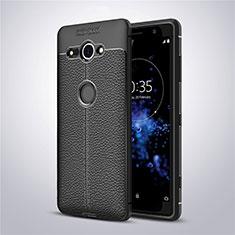 Coque Silicone Gel Motif Cuir Housse Etui pour Sony Xperia XZ2 Compact Noir