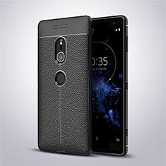 Coque Silicone Gel Motif Cuir Housse Etui pour Sony Xperia XZ2 Noir