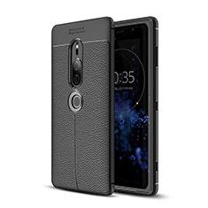 Coque Silicone Gel Motif Cuir Housse Etui pour Sony Xperia XZ2 Premium Noir