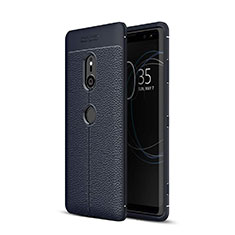 Coque Silicone Gel Motif Cuir Housse Etui pour Sony Xperia XZ3 Bleu