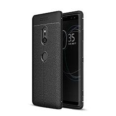 Coque Silicone Gel Motif Cuir Housse Etui pour Sony Xperia XZ3 Noir