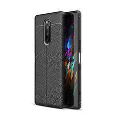 Coque Silicone Gel Motif Cuir Housse Etui pour Sony Xperia XZ4 Noir