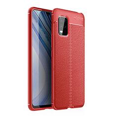 Coque Silicone Gel Motif Cuir Housse Etui pour Xiaomi Mi 10 Lite Rouge