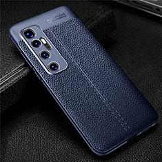 Coque Silicone Gel Motif Cuir Housse Etui pour Xiaomi Mi 10 Ultra Bleu