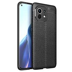 Coque Silicone Gel Motif Cuir Housse Etui pour Xiaomi Mi 11 5G Noir