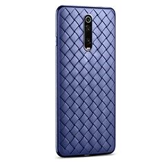 Coque Silicone Gel Motif Cuir Housse Etui pour Xiaomi Mi 9T Pro Bleu
