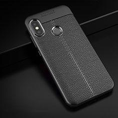 Coque Silicone Gel Motif Cuir Housse Etui pour Xiaomi Mi A2 Lite Noir