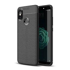 Coque Silicone Gel Motif Cuir Housse Etui pour Xiaomi Mi A2 Noir