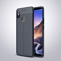 Coque Silicone Gel Motif Cuir Housse Etui pour Xiaomi Mi Max 3 Bleu