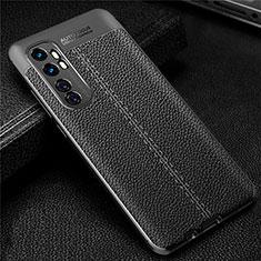 Coque Silicone Gel Motif Cuir Housse Etui pour Xiaomi Mi Note 10 Lite Noir