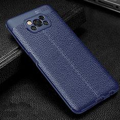 Coque Silicone Gel Motif Cuir Housse Etui pour Xiaomi Poco X3 NFC Bleu