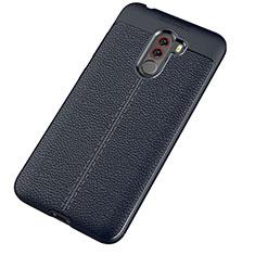 Coque Silicone Gel Motif Cuir Housse Etui pour Xiaomi Pocophone F1 Bleu