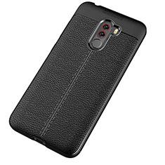 Coque Silicone Gel Motif Cuir Housse Etui pour Xiaomi Pocophone F1 Noir